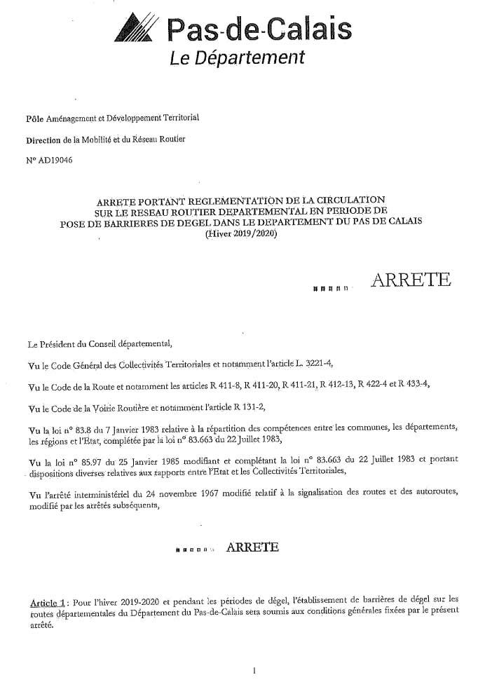 Arrete barrieres de degel 1