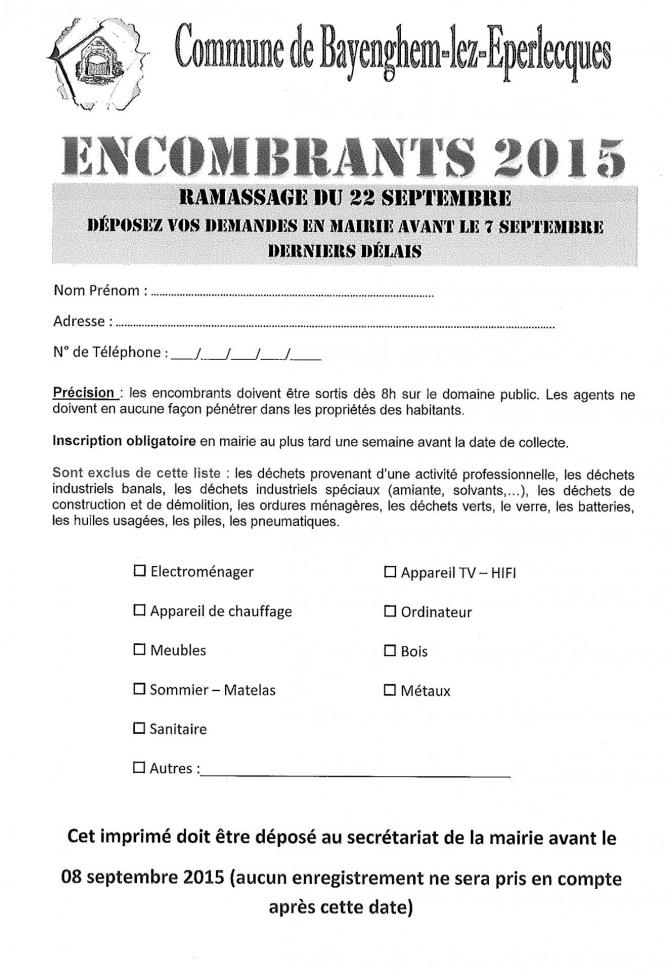Collecte encombrants 2015