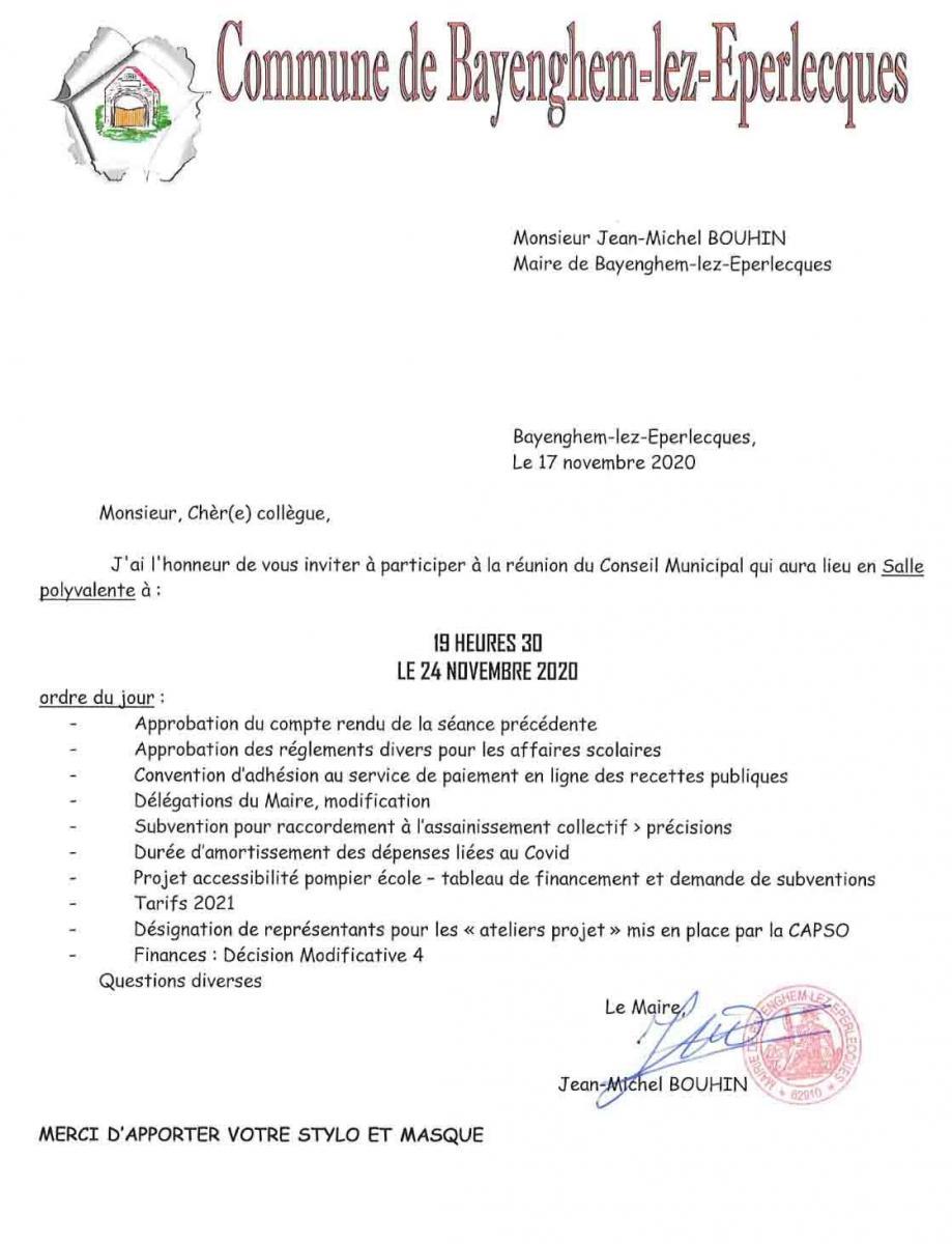 Convocation conseil municipal du 24 novembre 2020