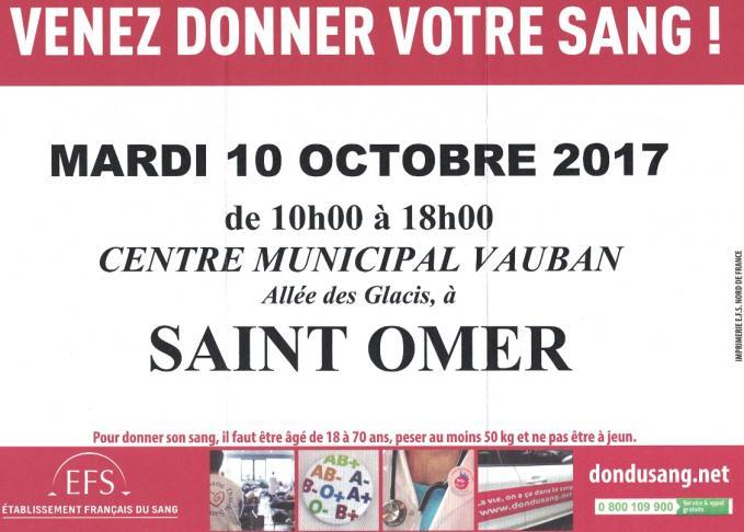 Don du sang 10 octobre