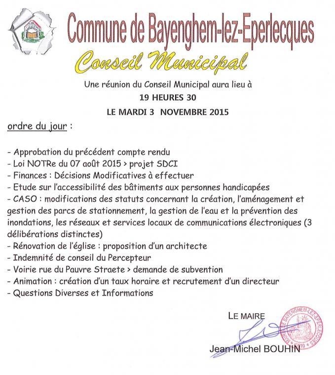 Ordre du jour cm du 03 11 2015